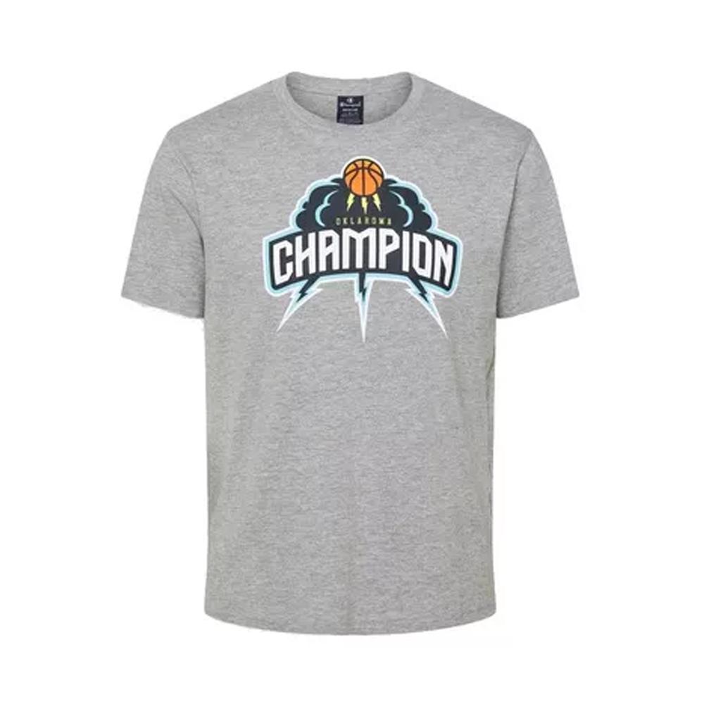 Champion T-Shirt con Stampa Grigia da Uomo