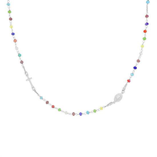 Collana rosario a girocollo in argento e zirconi mis. S