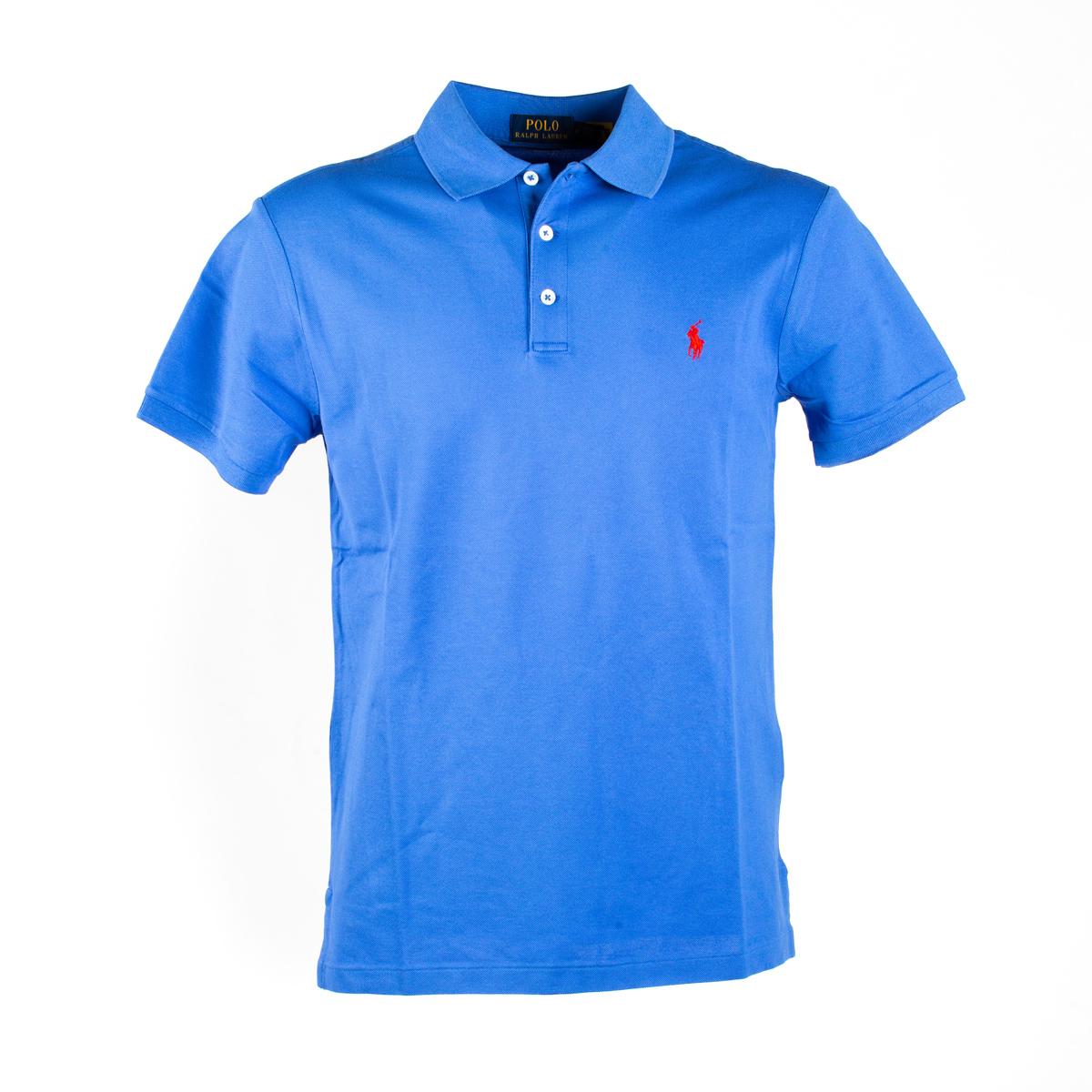 Polo Manica Corta Slim fit Polo Stretch Ralph Lauren Azzurro Intenso