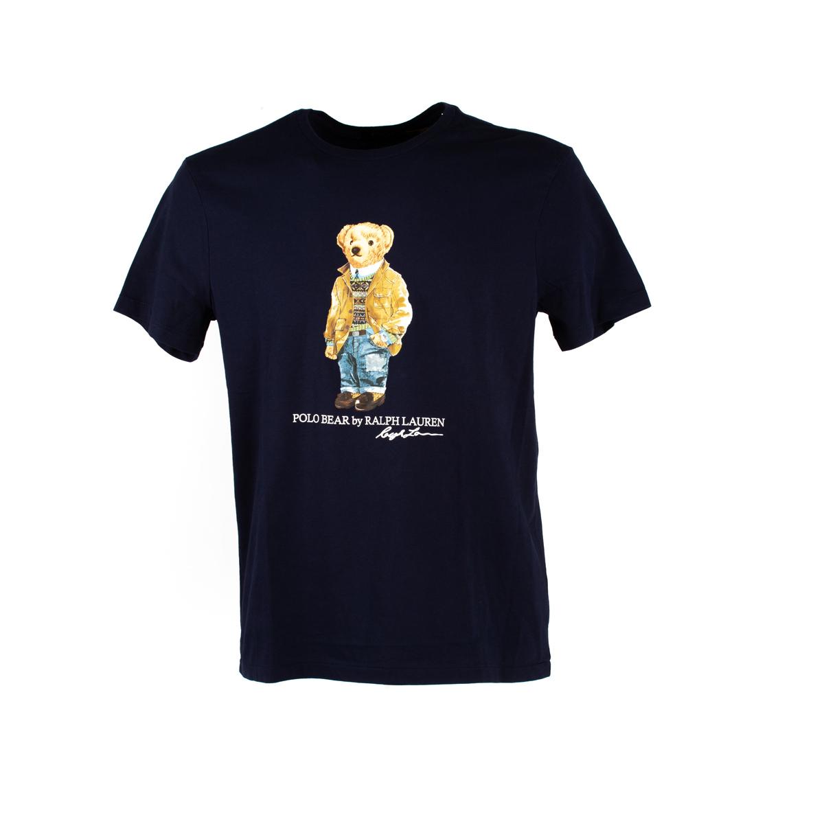 T-Shirt Polo Ralph Lauren Blu stampa orsetto