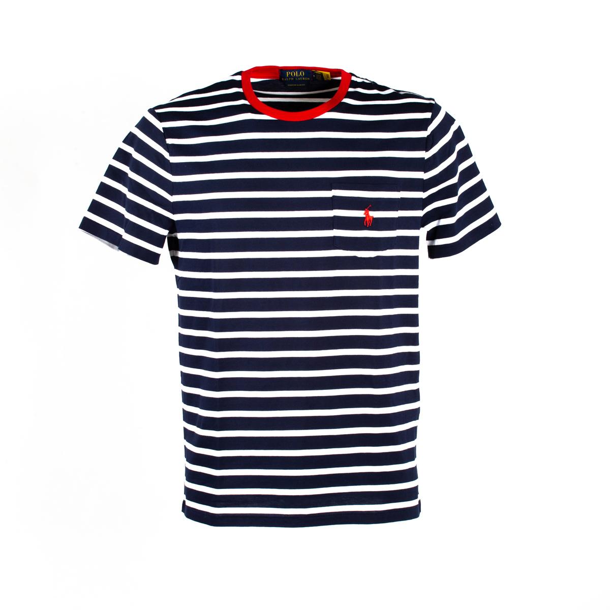 T-Shirt Polo Ralph Lauren Rigata Bianco/Blu