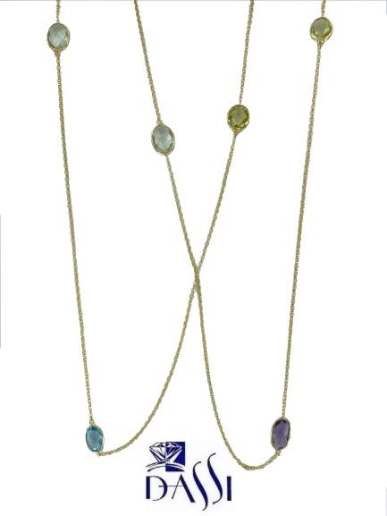 Collana modello Chanel in argento 925 dorato composta da  pietre semipreziose