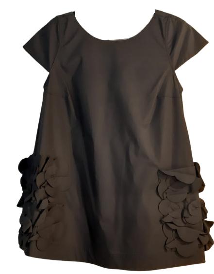 Casacca donna nera | tasche e fiori applicati | cotone| Made in italy