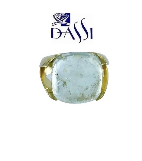 Anello in argento 925 dorato e acquamarina grezza