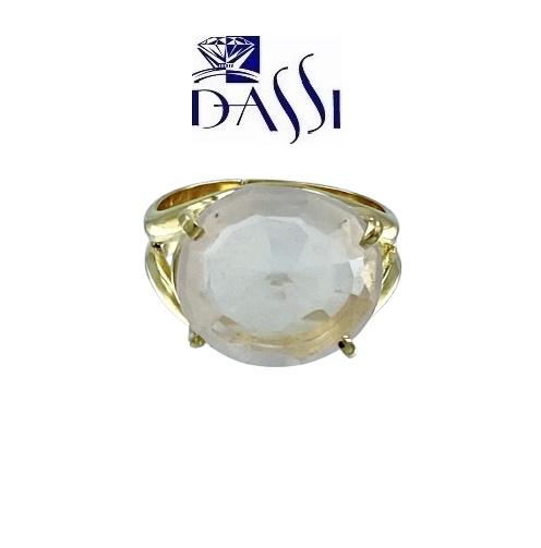 Anello in argento 925 dorato e quarzo rosa
