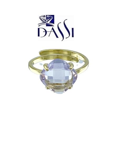 Anello in argento 925 dorato e topazio rosa