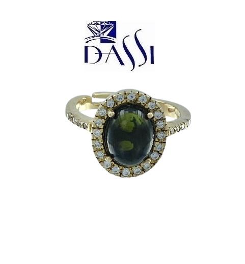 Anello in argento 925 dorato con una tormalina verde e zirconi