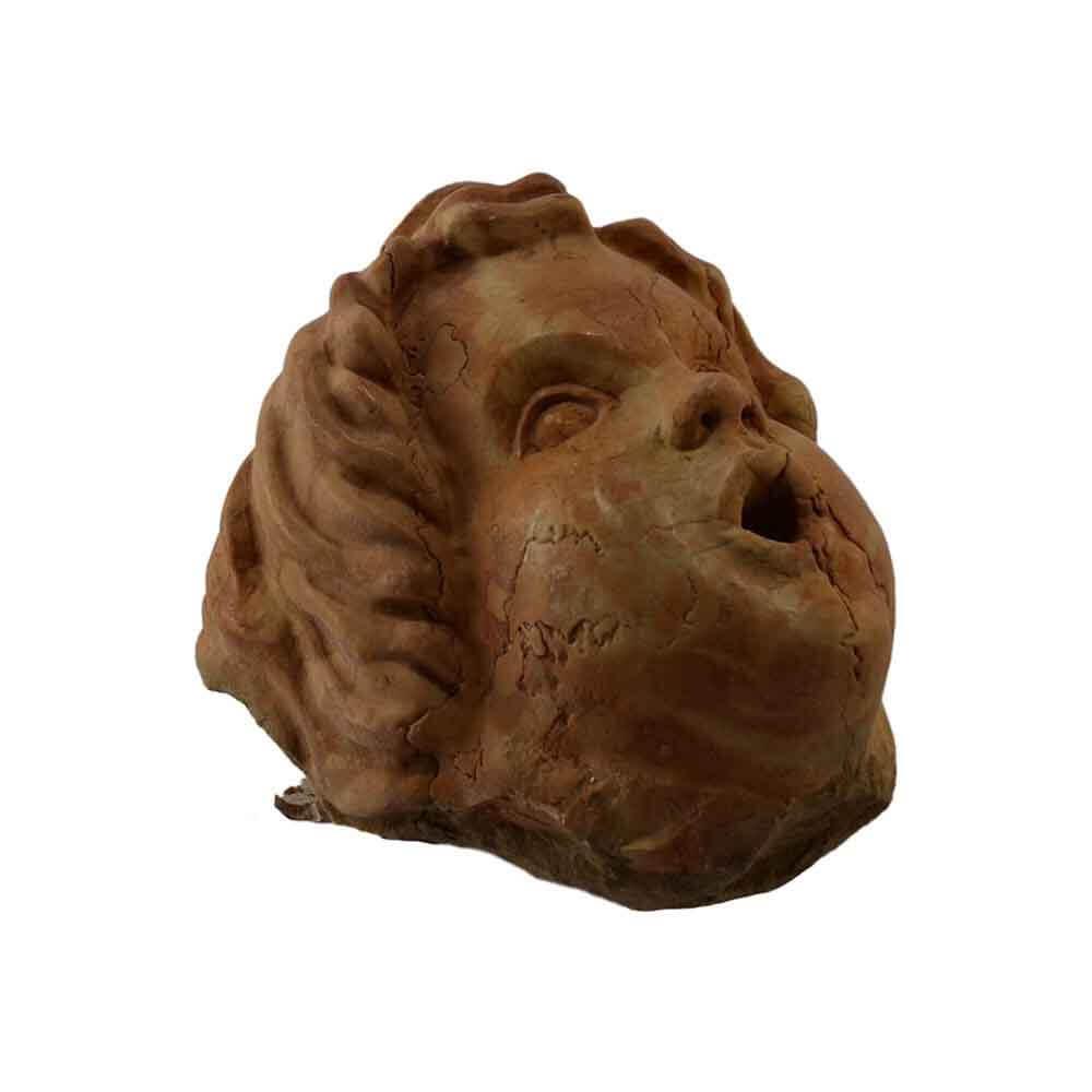 Scultura testa di putto marmo Rosso Asiago fatto a mano