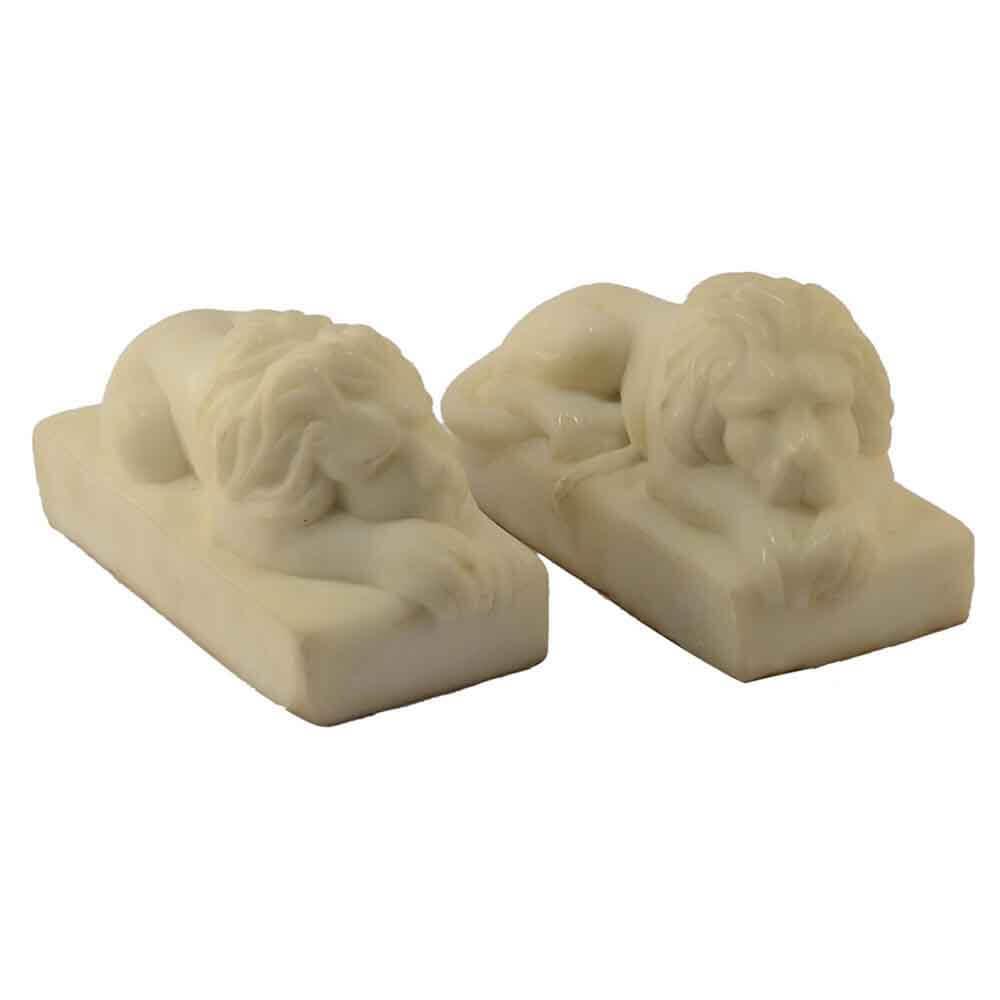 Coppia di leoni fermacarte in marmo Bianco Puro Carrara scolpito a mano
