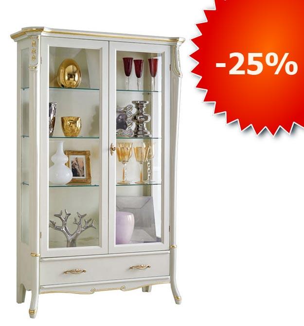 Glasvitrine Weiß Gold 2 Türen Beautiful Line PROMO