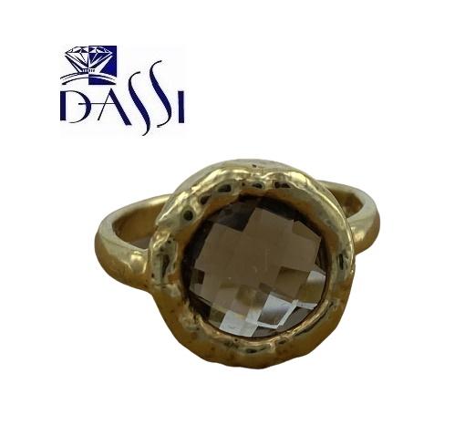 Anello in argento 925 dorato e quarzo fumè.