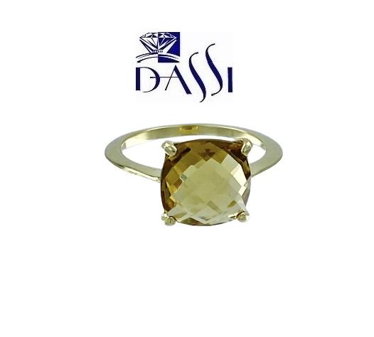 Anello in argento 925 dorato e quarzo lemon