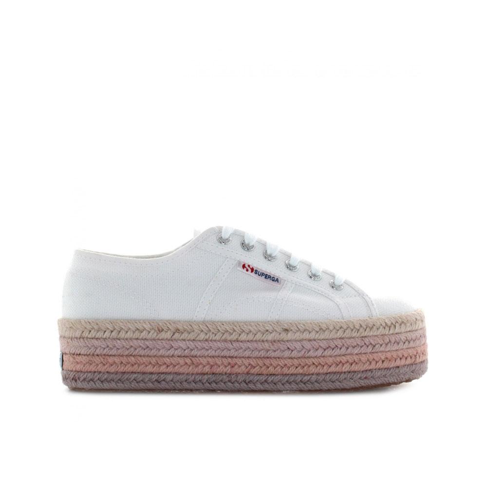 Superga Sneakers con Platform Rope Bianca da Donna