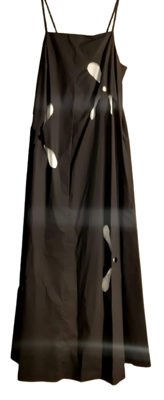 Abito lungo donna| cotone doppiato b/n|spallina stretta|Made in Italy