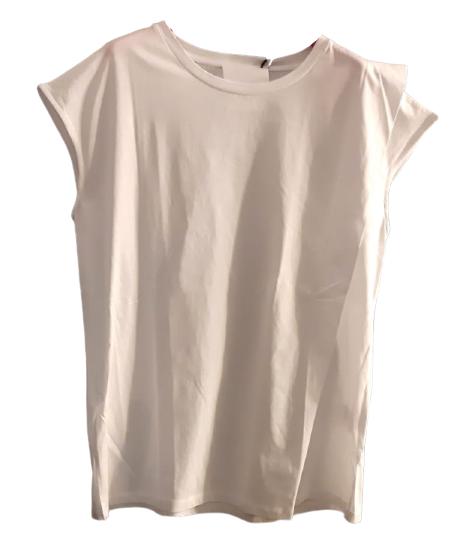 T-shirt donna| cotone bianco| motivo laterale| svasata| Made in Italy