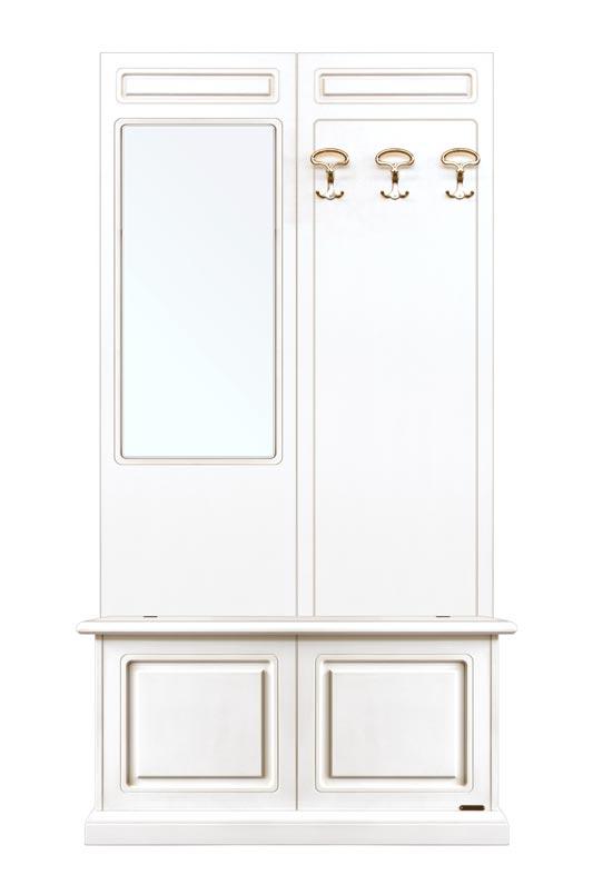 Garderobenpaneel mit Spiegel und Truhe