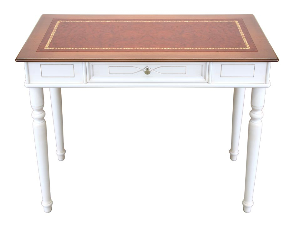 Engraved two-colour desk with leather top