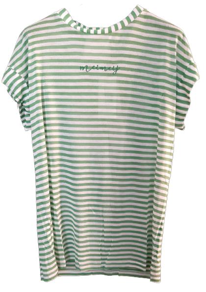 T-shirt donna|manica corta|rigata bianca e verde|cotone|Made in Italy