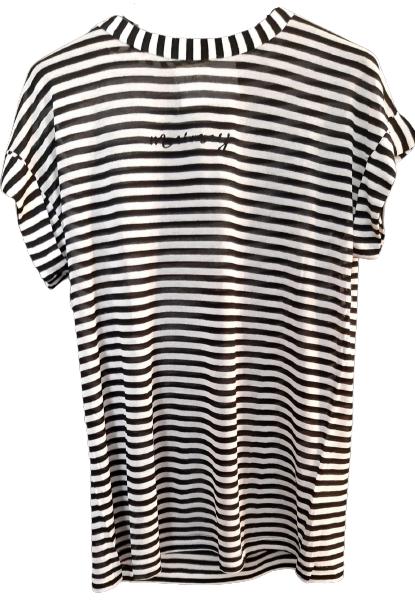 T-shirt donna| manica corta| rigata bianca e nera| cotone| Made in Italy