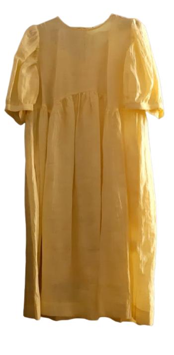 Abito donna midi| lino giallo| tasca laterale| Made in Italy