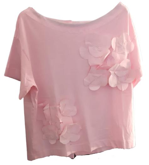 Maglia donna rosa| bottoni sul retro| fiori applicati | Made in Italy