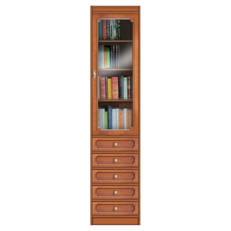 Klassisches Bücherregal mit Glastür und 5 Schubladen