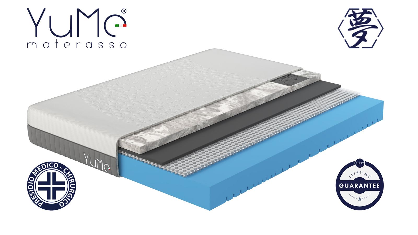 YuMe materasso piazza e mezza - memory in grafite e ioni d'argento