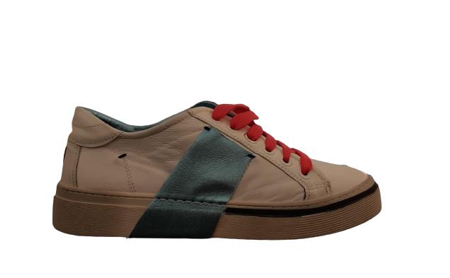 Sneakers donna| pelle bianca | banda laminata azzurra | Made in Italy