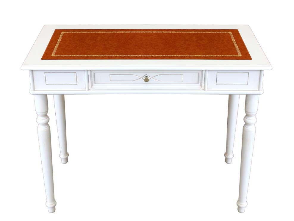 Lackierter Schreibtisch mit Holzgravur und Lederplatte