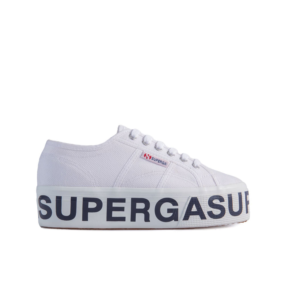 Superga Sneakers con Platform Lettering Bianca da Donna