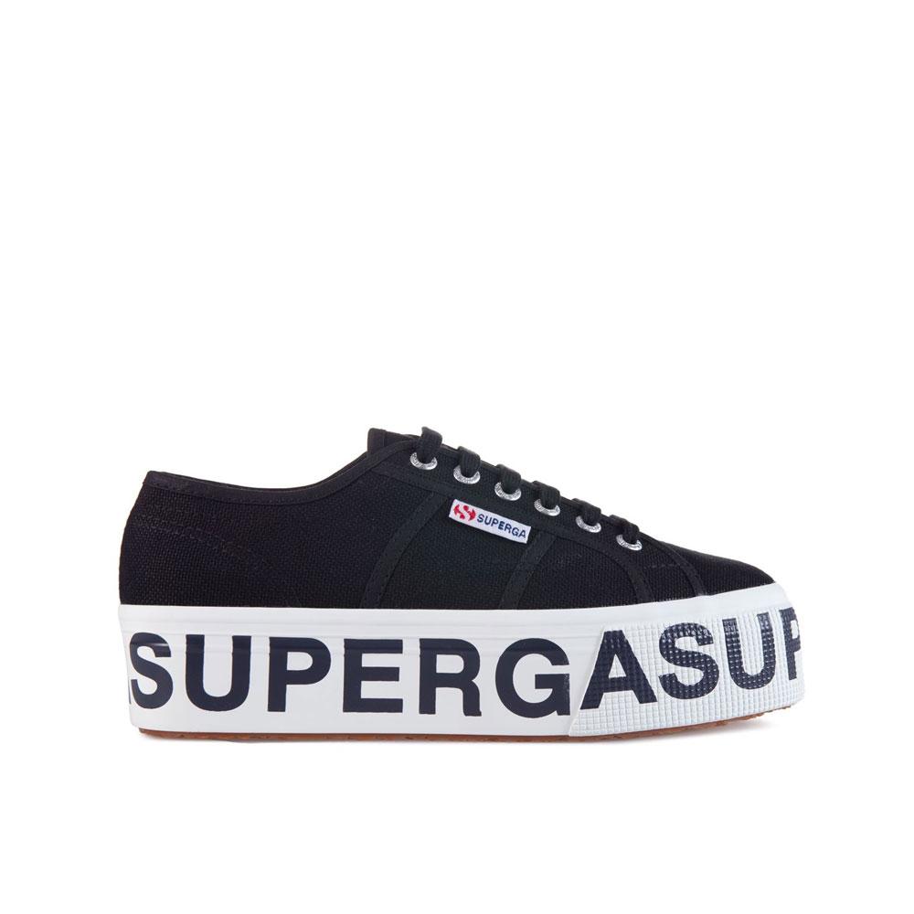 Superga Sneakers con Platform Lettering Nera da Donna