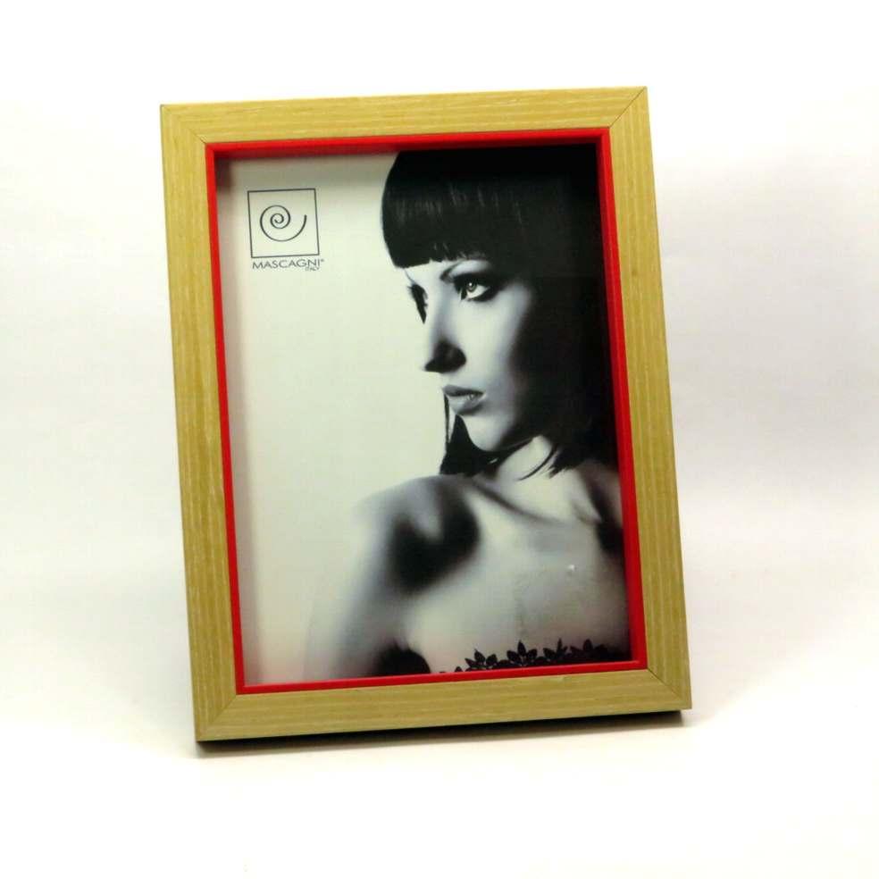 Cornice porta foto bordo legno e rosso15x20
