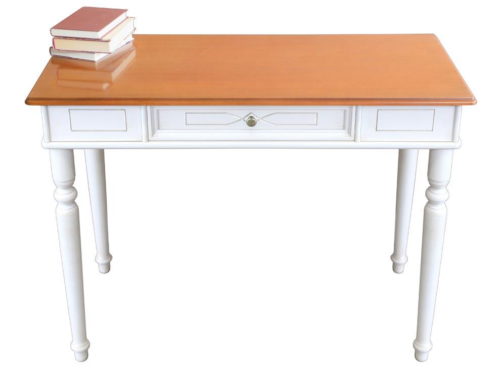 Zweifarbiger Schreibtisch mit Holzgravur