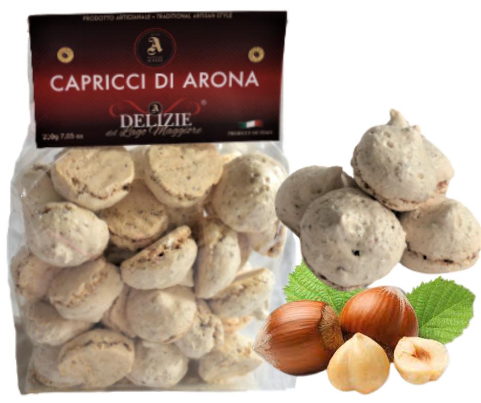 CAPRICCI DI ARONA - meringhe con granella di noccole del Piemonte