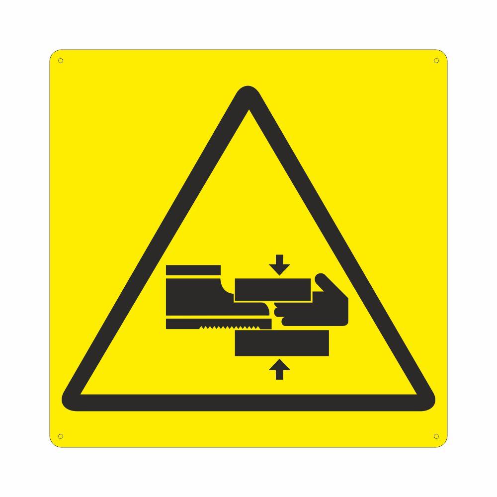 Cartello con simbolo pericolo schiacciamento arti