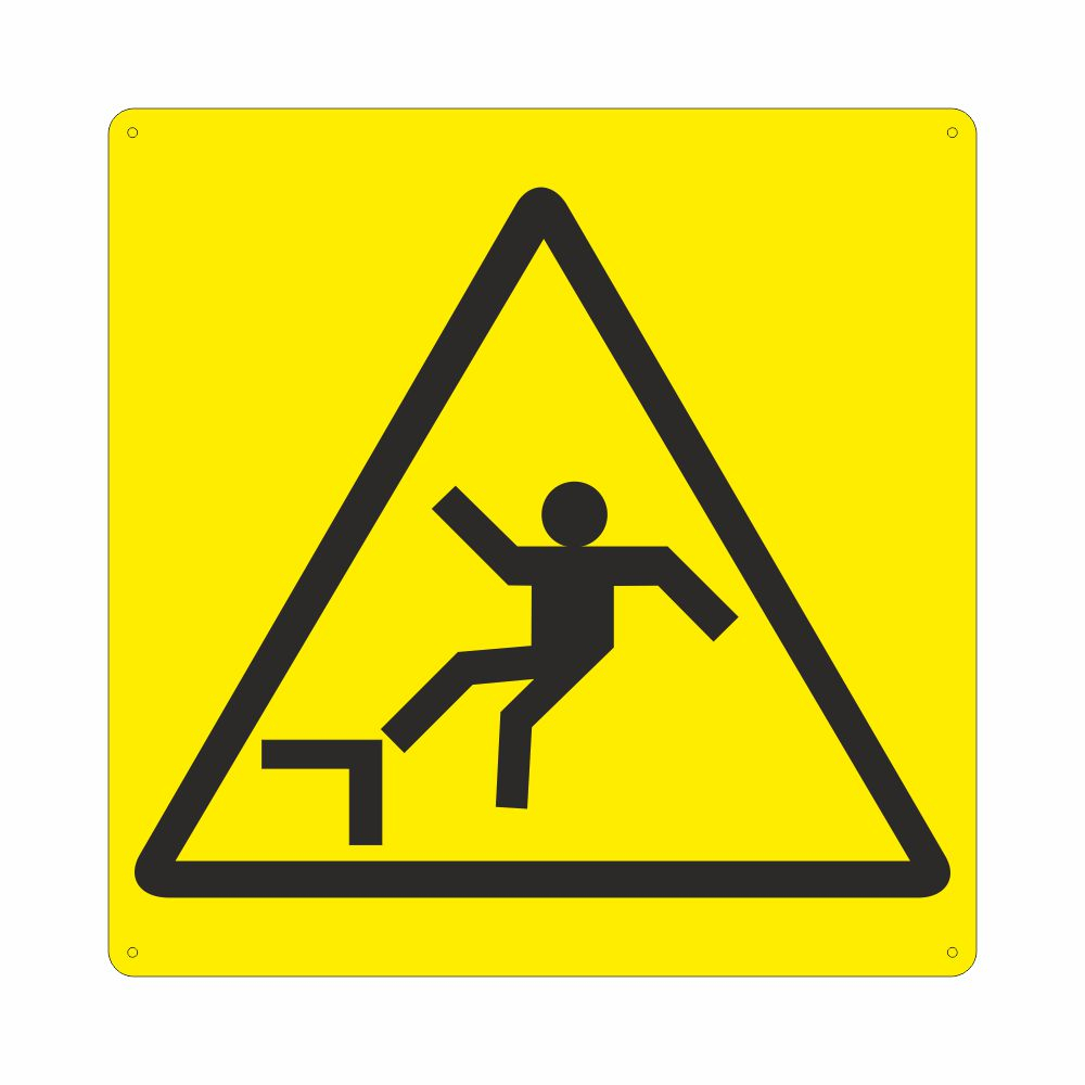 Cartello con simbolo W008 pericolo di caduta con dislivello