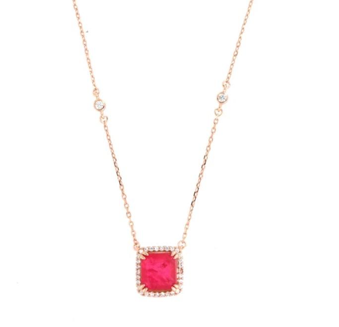 By Simon - Collana in Argento 925 con pendente zircone color rubino
