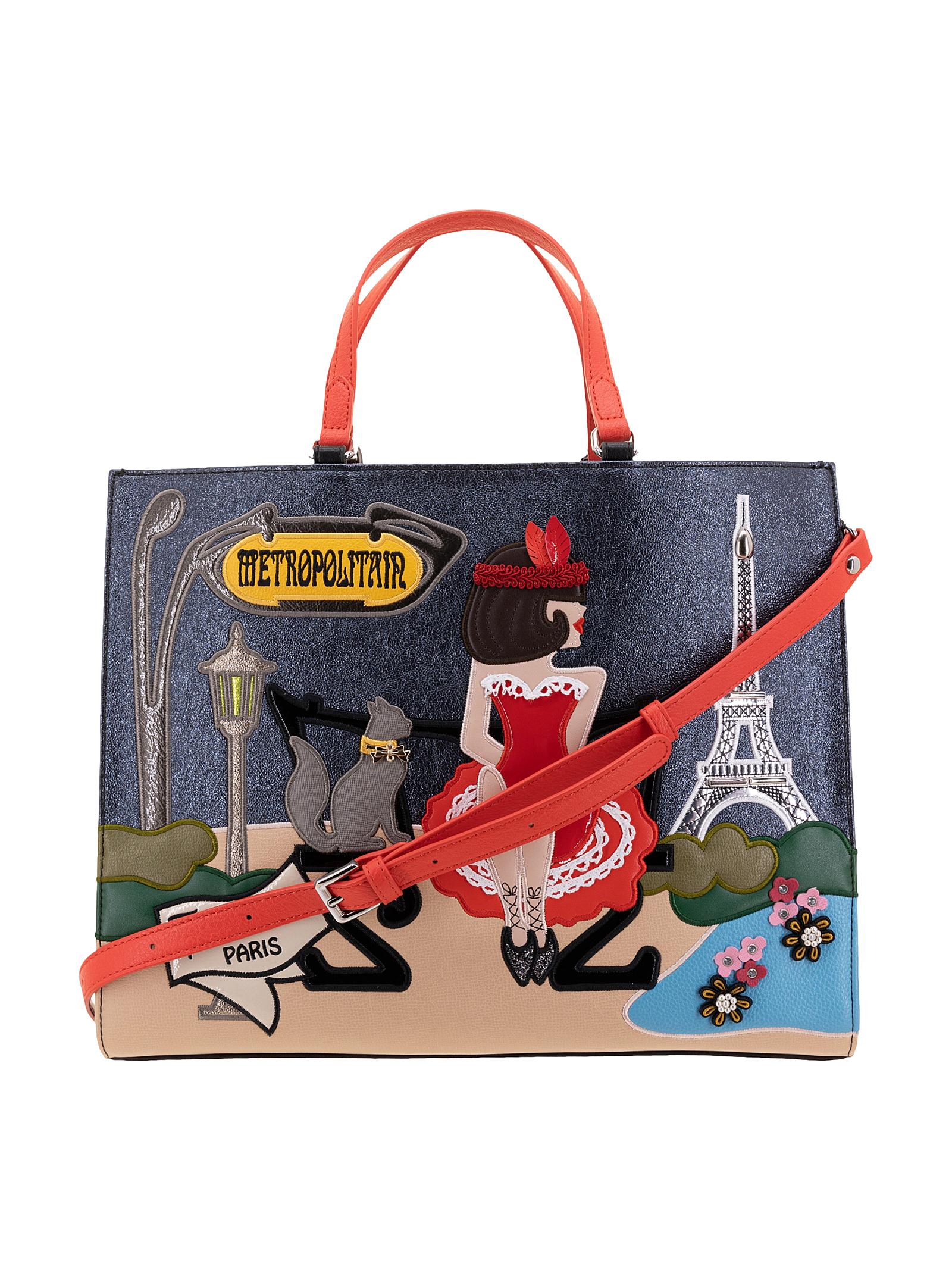 Braccialini Borsa a Mano Cartoline Parigi