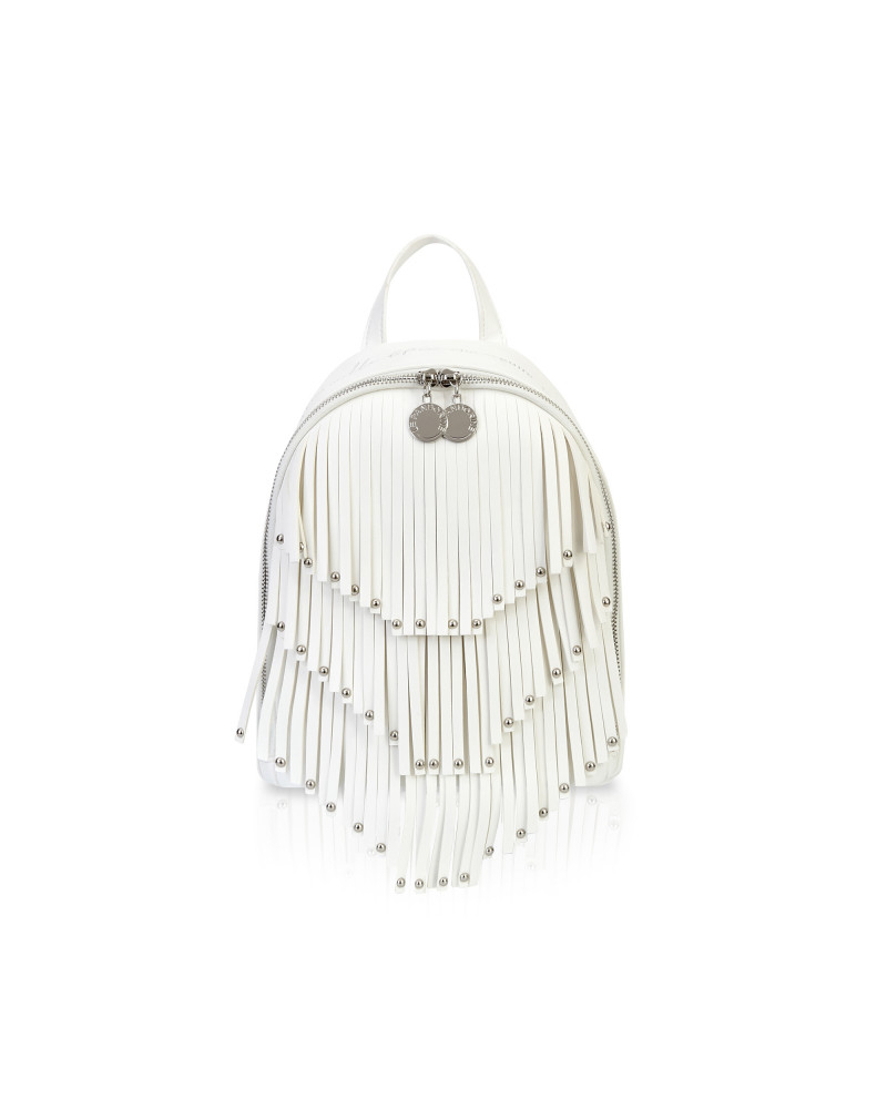 SHOPPING ON LINE LE PANDORINE VICKY BACKPACK DIFETTI FRINGE OFFWHITE NEW COLLECTION SPRING/SUMMER 2021