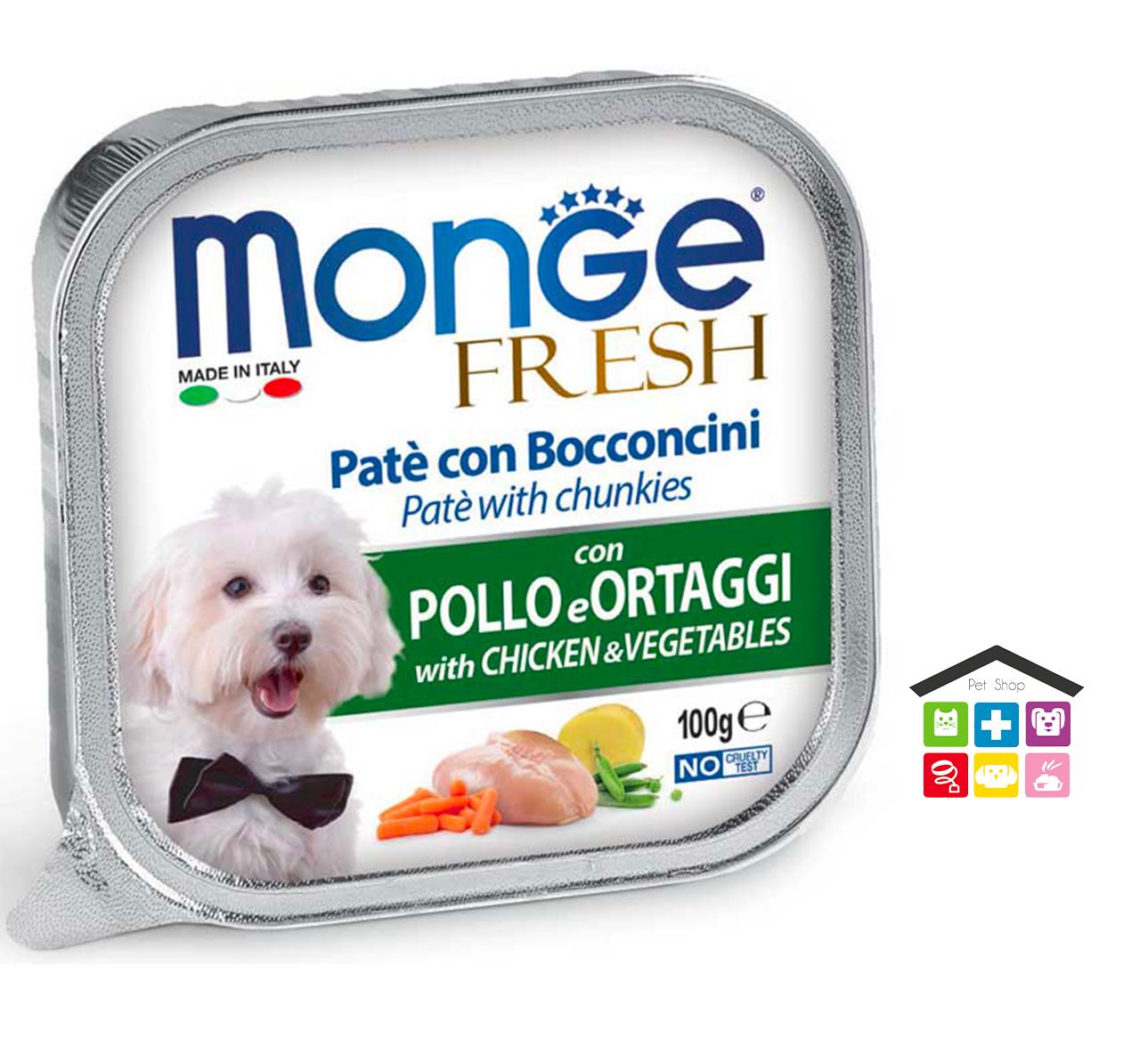 Monge fresh Paté e Bocconcini con Pollo e Ortaggi 0,100g