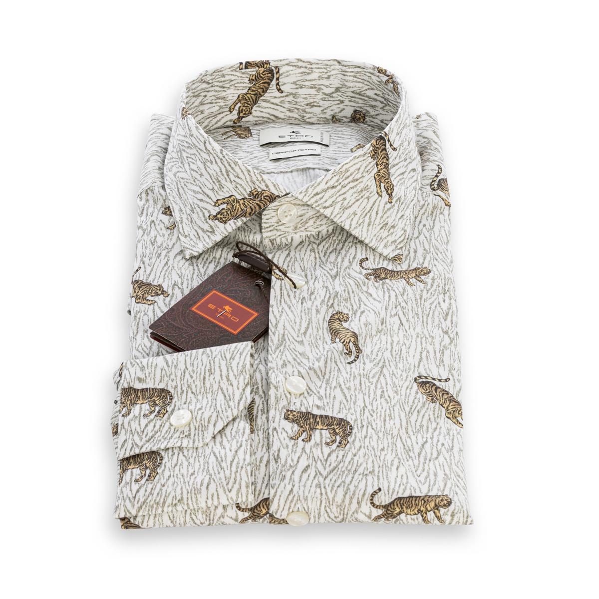 Camicia Etro in cotone Bianco Stampa Tigri