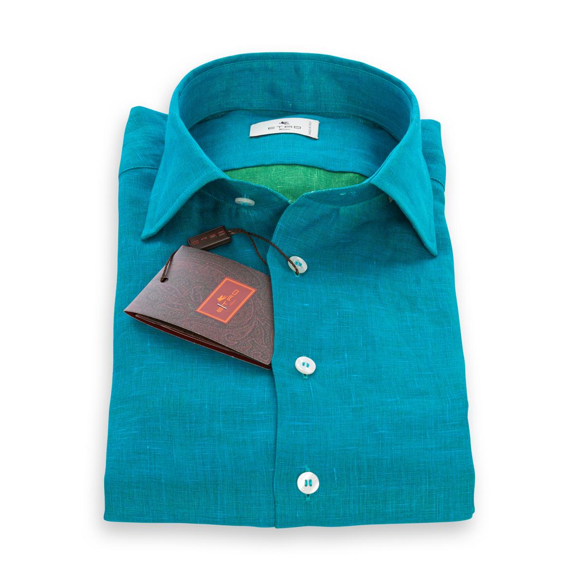 Camicia Etro in Lino Bicolore Azzurro e interno verde