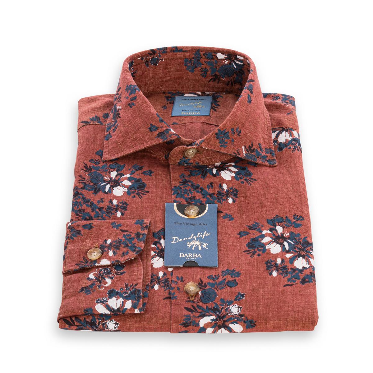 Camicia Barba DandyLife in Lino color Mattone stampa floreale nei toni del Blu