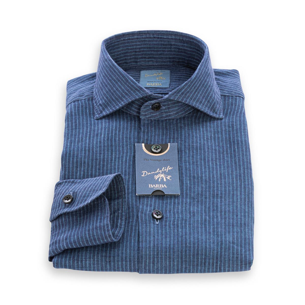 Camicia Barba DandyLife Lino color Denim rigato Azzurro