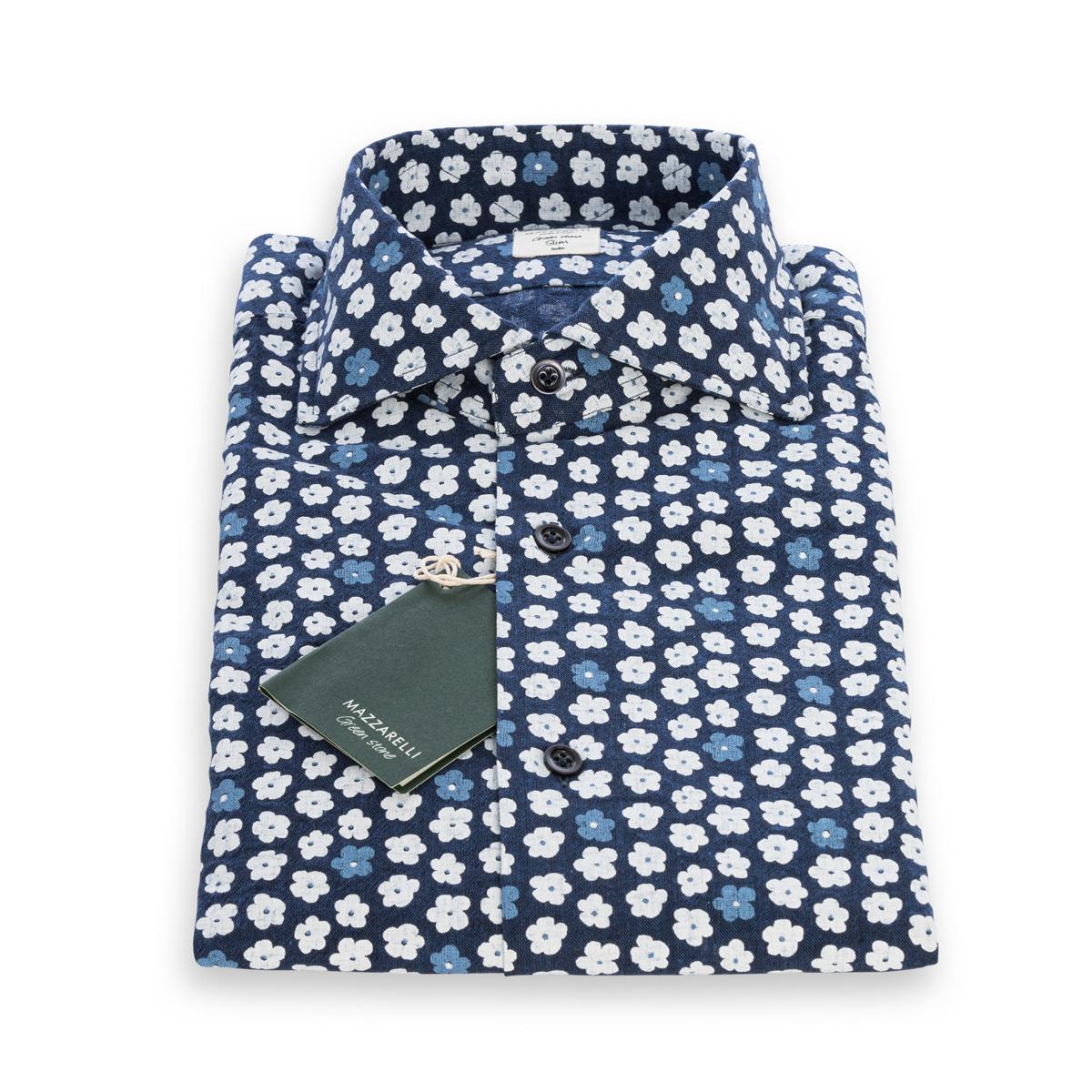 Camicia Mazzarelli Lino Blu fantasia floreale