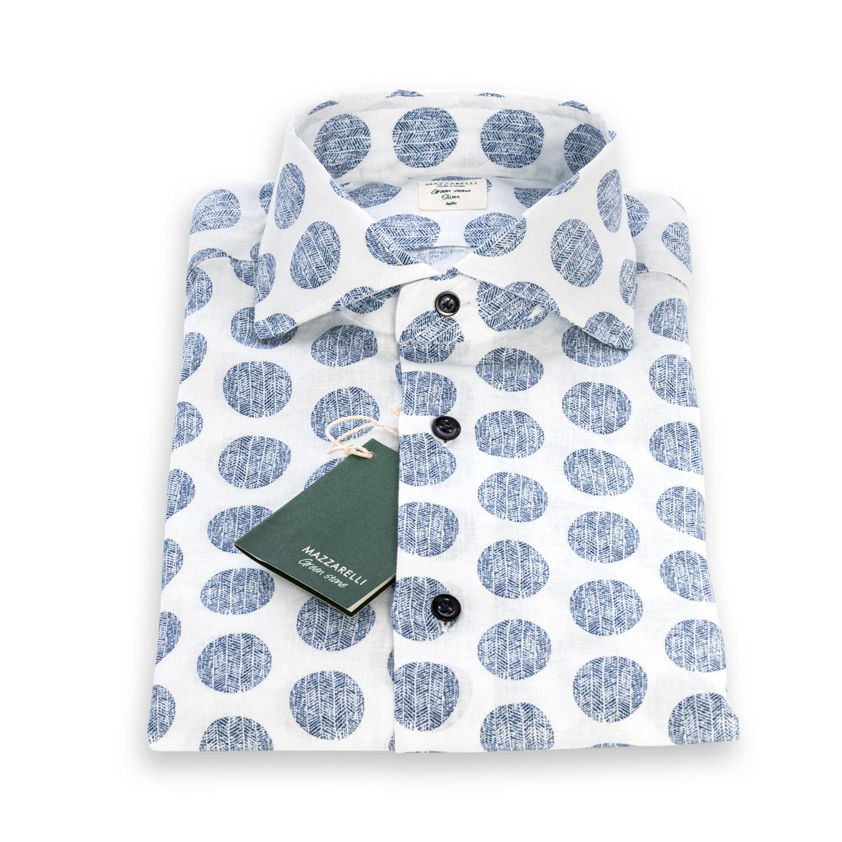 Camicia Mazzarelli Lino Bianco fantasia pois Blu