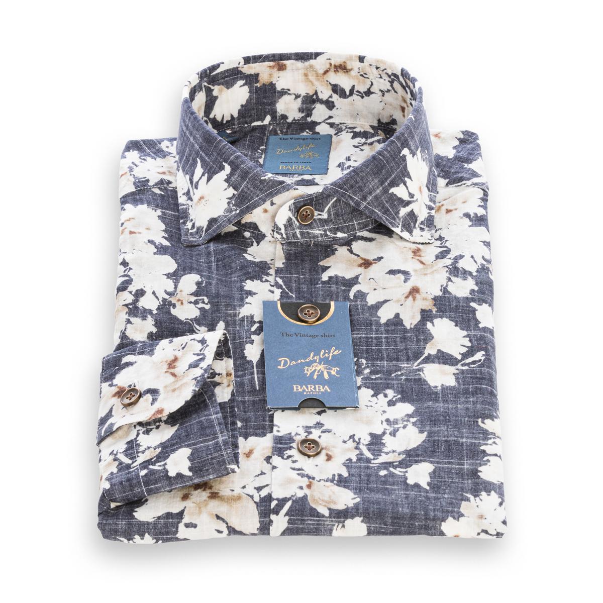 Camicia Barba DandyLife stampa floreale nei toni del Blu e Sabbia