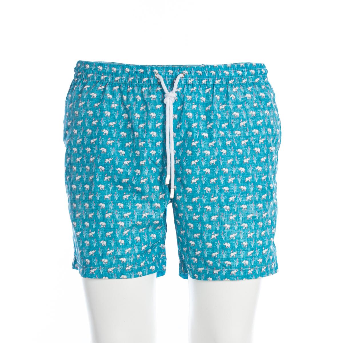 Boxer Mare Barba Beachwear Azzurro Fantasia Elefanti