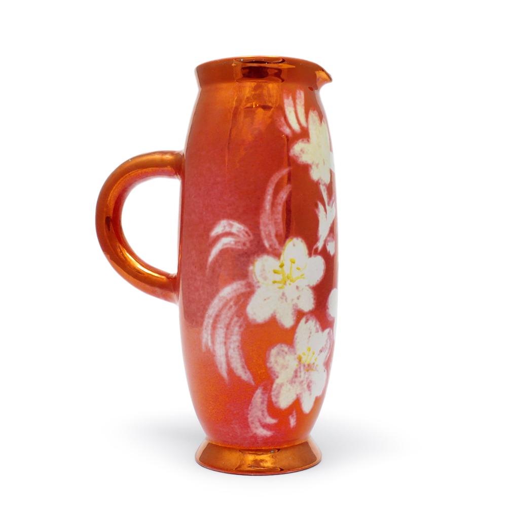 Brocca in ceramica di Faenza con disegno floreale