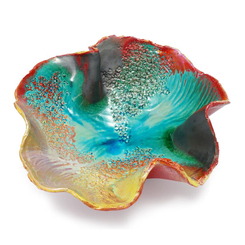Ciotola centrotavola Mare in ceramica artigianale di Faenza